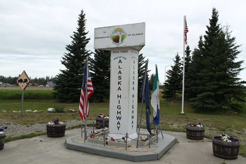 Koniec Alaska Highway v Delta Junction